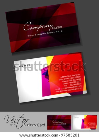 Professional business card template visiting card stock vector 2018 professional business card template or visiting card set artistic colorful abstract corporate look cheaphphosting Images