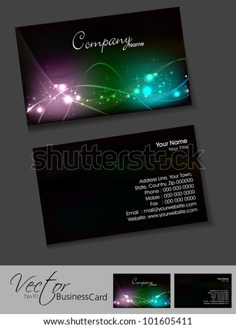 Professional business cards template visiting card stock vector professional business cards template or visiting card set artistic wave effect black color wajeb Image collections