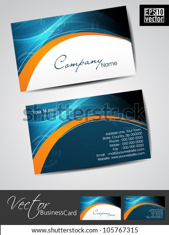 Professional business cards, template or visiting card set. Artistic wave effect, blue and orange color, abstract corporate look, EPS 10 Vector illustration. - stock vector