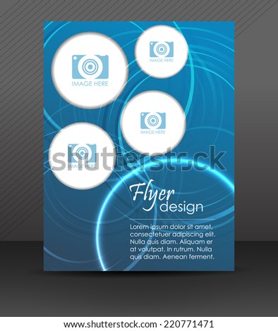 Professional business flyer template, cover design, brochure or corporate banner/design with place for your content, round elements and shiny effect/vector illustration - stock vector