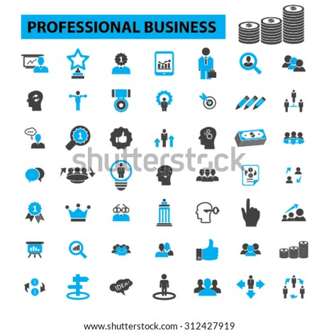 Professional business icons concept. Business people, business man, business meeting, business card, business team, business man, business presentation, conference, office. Vector illustration set - stock vector