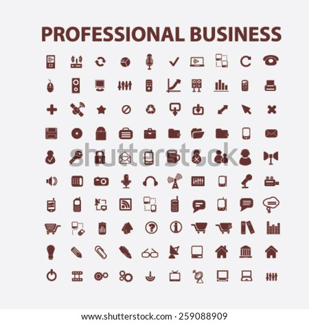professional business, management icons, signs, illustrations concept design set, vector - stock vector