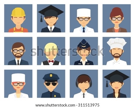 Professional business people avatars. Character flat design icons set with graduate doctor teacher businessman chef policeman   - stock vector