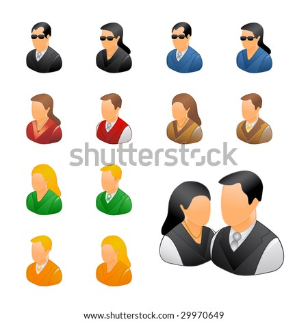 Professional business people icon set - vector icons