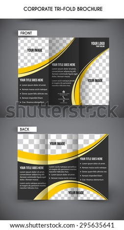 Professional business tri fold flyer template, corporate brochure - stock vector