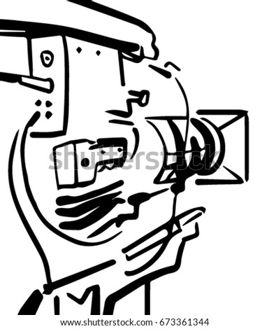 Professional Camera Black And White Vector Sketch Simple Drawing Back View