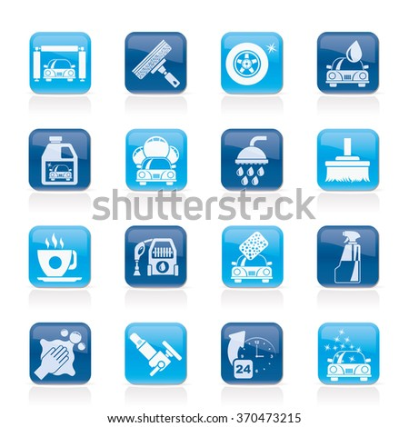 Professional car wash objects and icons - vector icon set - stock vector