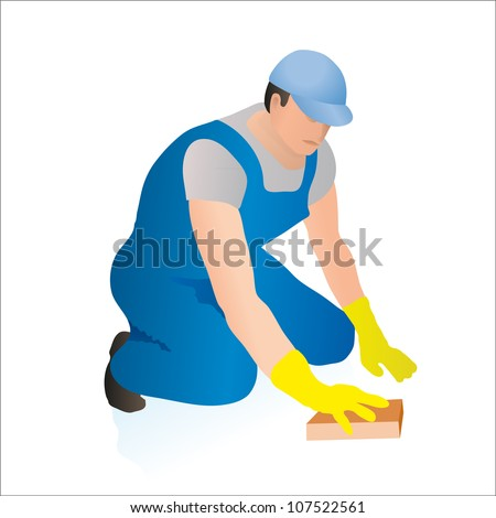 Professional cleaner wiping the floor with a sponge - stock vector