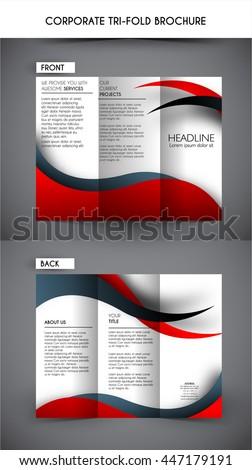 Professional corporate business tri fold brochure template - stock vector