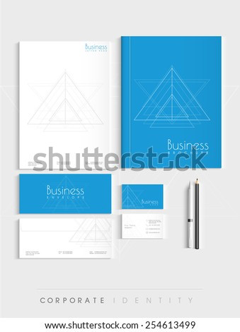 Professional corporate identity kit for your business includes Letterhead, Brochure, Envelopes, Visiting Cards and stationary. - stock vector