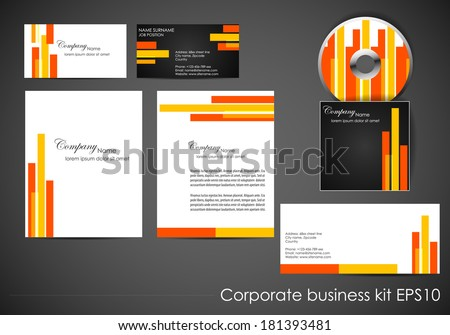 Professional corporate identity kit or business kit/design for your business includes CD cover, business card and envelope/vector illustration