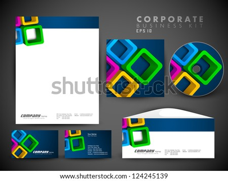 Professional corporate identity kit or business kit for your business includes CD Cover, Business Card, Envelope and Letter Head Designs.  EPS 10. - stock vector
