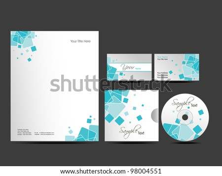 Professional  Corporate Identity kit or business kit with artistic, abstract design in blue color for your business includes CD Cover, Business Card and Letter Head Designs in  EPS 10 format. - stock vector