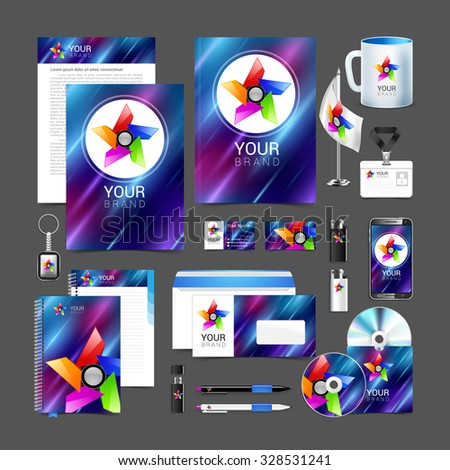 Professional corporate identity kit or business kit with artistic, abstract effect for your business includes. - stock vector