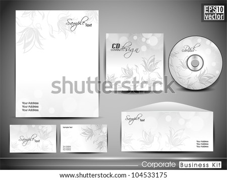Professional corporate identity kit or business kit with artistic, abstract floral design for your business includes CD Cover, Business Card, Envelope and Letter Head Designs in EPS 10 format. - stock vector