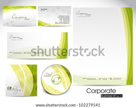 Professional corporate identity kit or business kit with artistic, abstract wave effect for your business includes CD Cover, Business Card, Envelope and Letter Head Designs in EPS 10 format. - stock vector