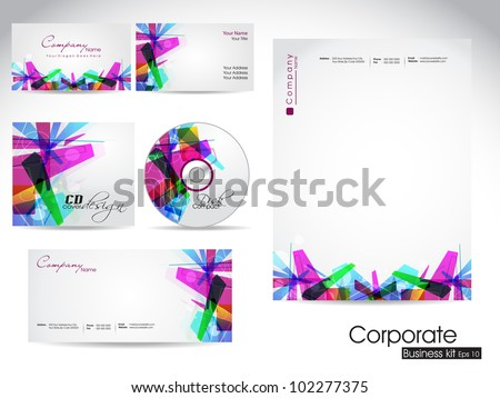 Professional corporate identity kit or business kit with artistic, color abstract design  for your business includes CD Cover, Business Card, Envelope and Letter Head Designs in EPS 10 format. - stock vector