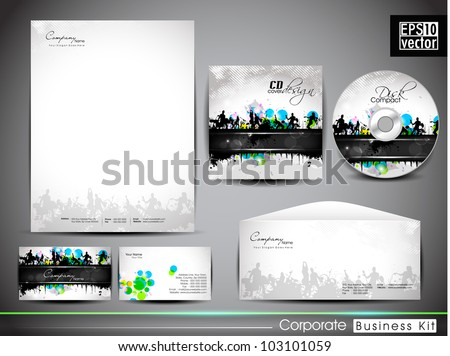 Professional corporate identity kit or business kit with artistic, music background for your business includes CD Cover, Business Card, Envelope and Letter Head Designs in EPS 10 format. - stock vector