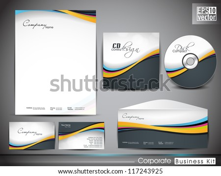 Professional corporate identity kit or business kit with wave pattern for your business includes CD Cover, Business Card, Envelope and Letter Head Designs. EPS 10. - stock vector