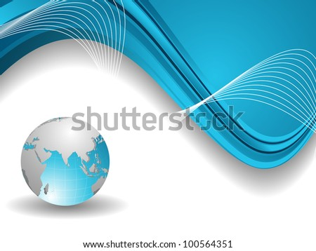 Professional Corporate or Business template for financial presentations showing globe in blue and silver metalic color on blue wave background. EPS 10. Vector illustration. - stock vector
