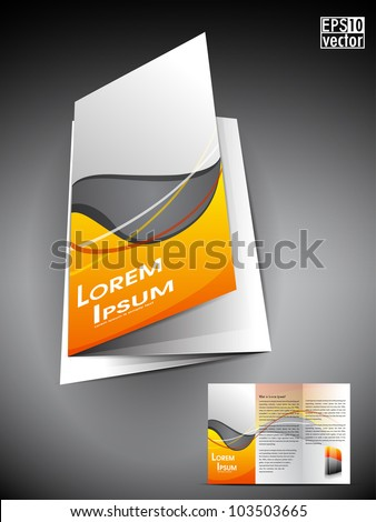 Professional 3D business flyer template or corporate brochure or cover design on grey and yellow wave  pattern with inner pages for publishing, print and presentation.EPS 10. - stock vector