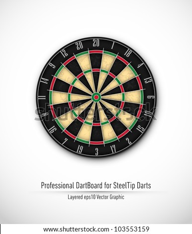 Professional Dartboard for Steel Tip Darts | Eps10 Vector Background | Layers Organized and Named - stock vector