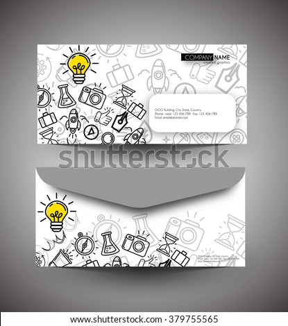 Professional doodle envelop Blank stationery and corporate identity templates. - stock vector
