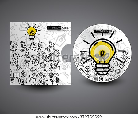 Professional doodles CD cover presentation design template , editable vector illustration - stock vector