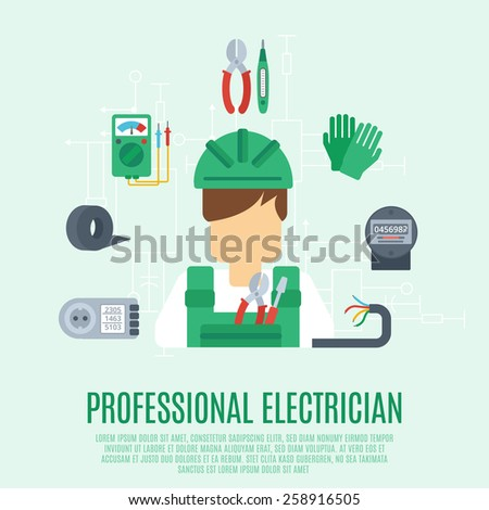 Professional electrician concept with electricity tools and equipment flat icons vector illustration - stock vector