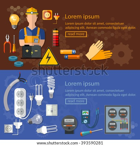 Professional electrician electricity banners electric tools and equipments  - stock vector