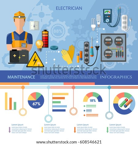 Professional Electrician Infographics Electrical Equipment Presentation Template Electricity Tools Installation And Repair