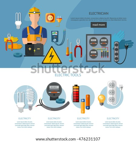 Professional electrician infographics electricity tools - Electricien a nice ...