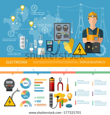 professional electrician infographics electricity tools, Presentation templates