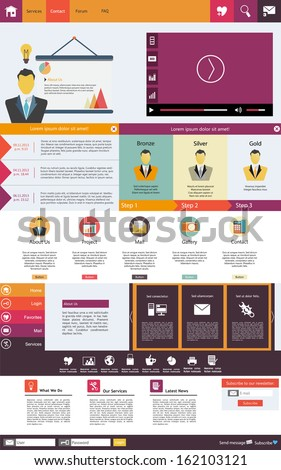 Professional Flat Web Design elements. Templates for website.  - stock vector