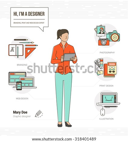 professional graphic designer photographer and illustrator infographic skills resume with tools and icons - Professional Skills Resume
