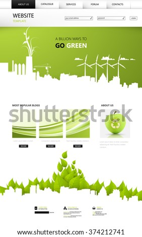 Professional Green Eco One Page Website Design Vector - stock vector