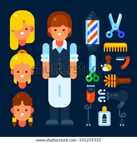 Professional hairdresser and her stuff. Vector flat illustration. Isolated objects. - stock vector