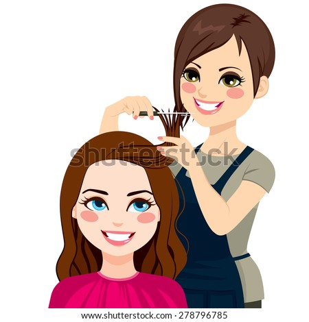 Professional hairdresser cutting fringe with scissors to beautiful curly hair brunette girl - stock vector