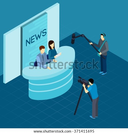Professional journalist at work broadcasting breaking news live from tv studio isometric banner abstract vector illustration - stock vector