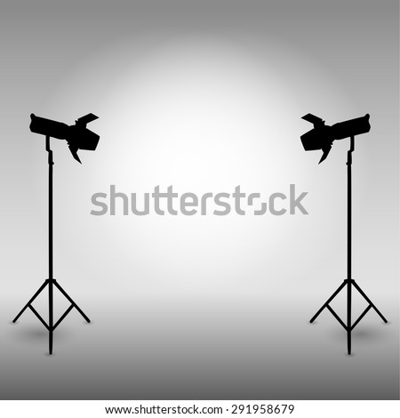 Professional light in the studio. The flash on a tripod. Vector illustration. - stock vector