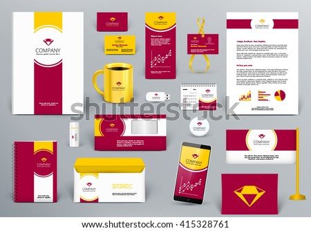 Professional  luxury branding design kit for jewelry hotel, real estate or  travel agency firm. Gold/red/white style. Premium corporate identity template. Business stationery mock-up with logo. - stock vector