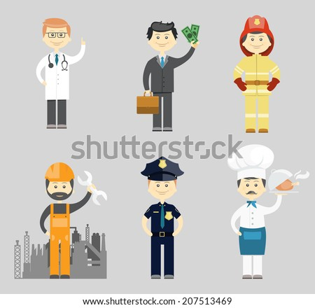 Professional men character icon vector set with a doctor  successful businessman  fireman  industrial construction worker or mechanic  policeman and chef in a toque
