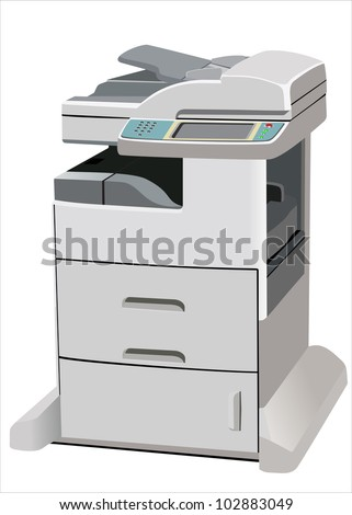 Professional multifunction printer isolated on white - stock vector