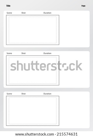 Professional of film storyboard template for easy to present the process of story. - stock vector
