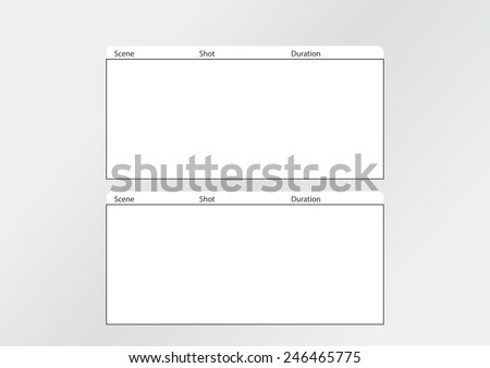 Professional of film storyboard template for easy to present the process of story.Special use for 4K , 2K ,HD, The Film Aspect ratios is 1:2:35  - stock vector