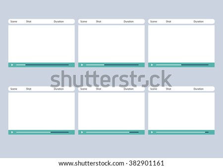 Professional of media video player HD 1920 x 1080 16:9 storyboard template is convenience to present the storyline to client. A4 design of paper ratio is easy to fit for print out. - stock vector