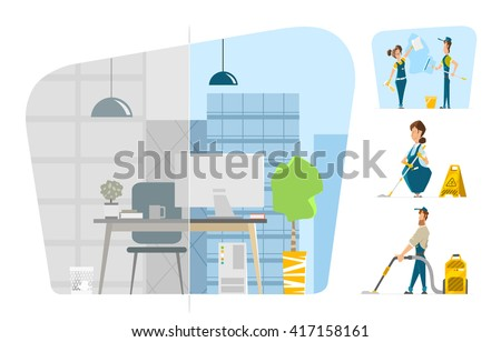 Professional office cleaning service Vector character illustration set Before and after