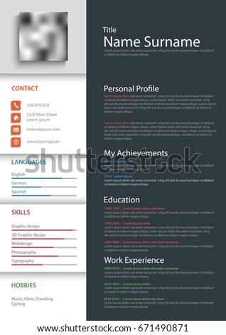 professional personal resume cv templateのベクター画像素材 671490871