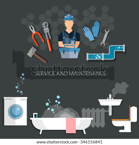 Professional plumber plumbing tools service and maintenance - stock vector