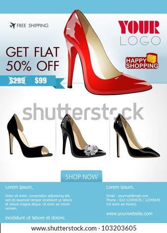 Professional product flyer or banner design of ladies shoe or other product with attractive discount offers for promotion, marketing can be use mailer and newsletter.EPS 10.Editable, space for text. - stock vector